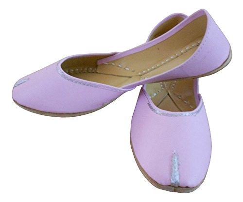 kalra Creations Chaussures de mariage indien traditionnel en cuir pour femme Rose