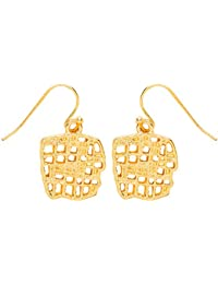 Front Row Gold Colour Woven Texture Drop Earrings