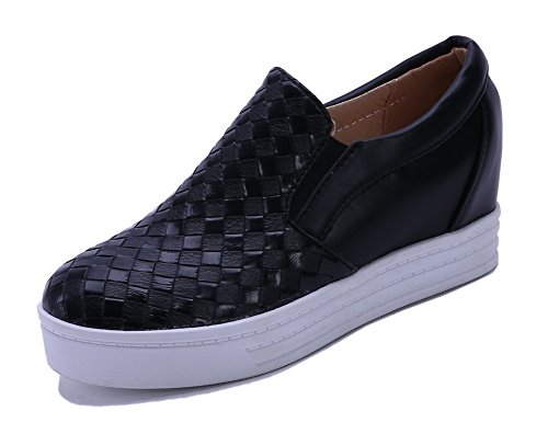 AllhqFashion Femme Couleur Unie Pu Cuir Rond Tire Chaussures Légeres Noir
