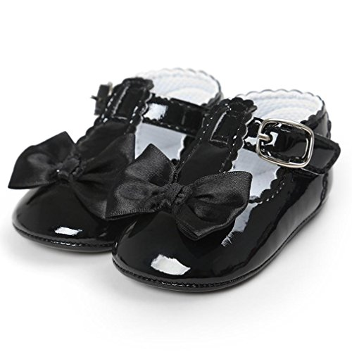 BZLine® Bowknot PU Cuir Chaussures à Couleur pure, Style souple pour Bébés Filles 0-18Mois Noir