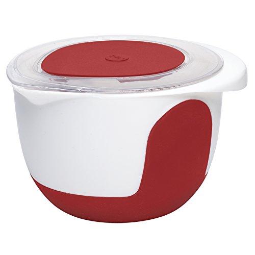 Emsa 508018 Rührtopf mit Deckel, 2 Liter, Abriebfeste Skala, Weiß/Rot, Mix & Bake