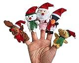 Demarkt Weihnachts Fingerpuppen Set Rollenspiele Handpuppe Plüsch Spielzeug Kinder Frühre Bildung Rentier Schneemann Weihnachtsmann Pinguin Teddy Bär