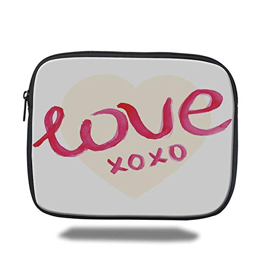 Tablet Bag for Ipad air 2/3/4/mini 9.7 inch,Xo Decor,Love Typography on Heart Figure with Kisses Symbol Letters Romance Print Decorative,Dark Coral Cream,Bag (Xo Kids Tablet)