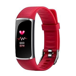 Smart-Armband mit Schlaf-Monitor, Blutdruckmessung, Herzfrequenz-Monitor, Fitness-Record Smartwatch – wasserdicht, rot