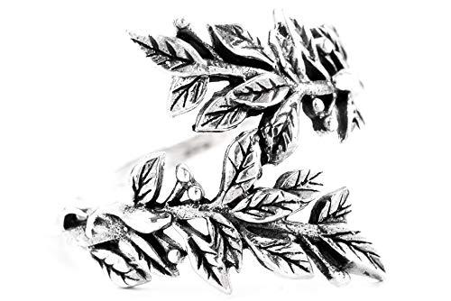 WINDALF Elfen Blätter Ring BETELI h: 1.9 cm Zarte Bohemia Vintage Celtic-Fairy Hochwertiges Silber (Silber, 52 (16.6))