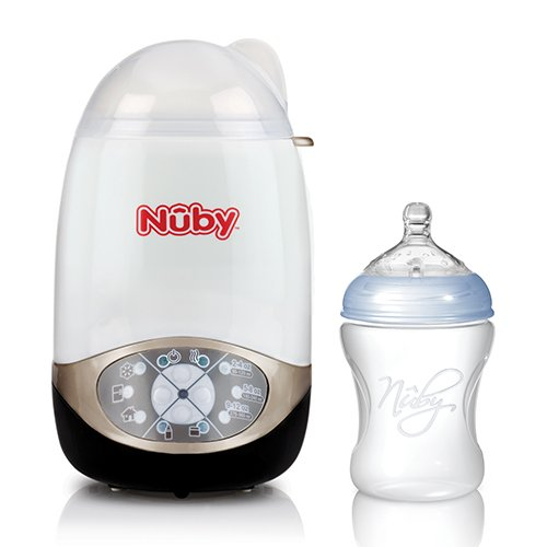 Nuby NTVP40 Bottle Warmer and Steriliser Deluxe 2 in 1 with 1 x PP Bottle 240 ml, White