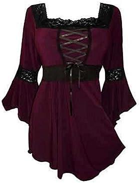 keephen Camiseta gótica de mujer Camiseta extragrande Camisa de cuello cuadrado Sudadera con capucha Top Pullover...