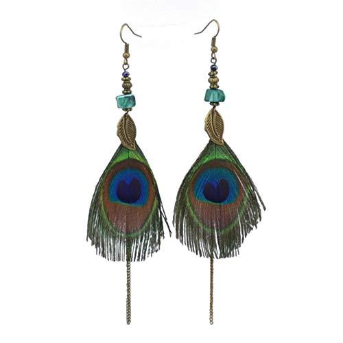 Dishengsg Multipurpose Vintage Ethnic Style Peacock Feather Ohrringe Charming Dangle Drop Long Ohrringe für Frauen(None Picture Color) -