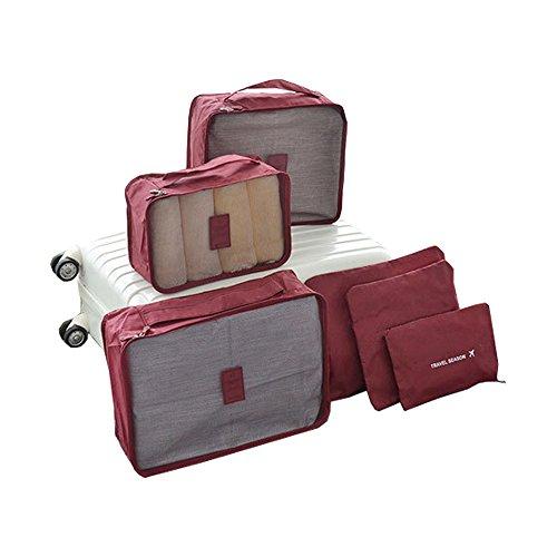 Harson&Jane 6 Stück Reise-Organisator Set Kosmetikbekleidung Kleidertaschen Aufbewahrungsbeutel Wäschesack Wasserdicht Nylon Gewebe (Wein Rot)