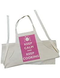 Childs Apron - Keep Calm and Keep Cooking design - Natural (Cream) Cotton Drill