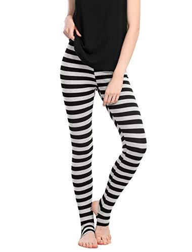 Weiße Streifen Leggings (Allegra K Damen Elastisch Hosenbund Stirrup Streifen Leggings Hose, S (EU 38)/Schwarz)