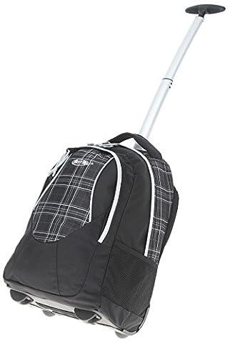 BESTWAY ® Schultrolley ROLLY Schulrucksack Trolley + Trinkflasche CO2 / Schwarz Plaid (0101)