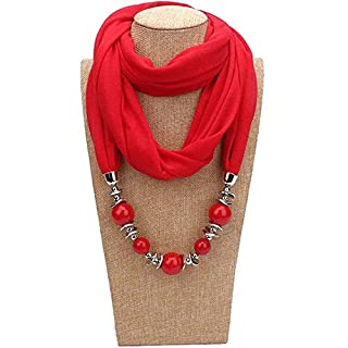 ANDAY Beads Pendant Round Neck Collar Necklace Neckerchief Scarf Necklaces Women Ethnic Jewelry Vintage Accessories (Red)