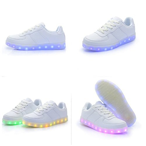 [Present:kleines Handtuch]JUNGLEST® Unisex Frauen Männer USB Lade LED leuchten Glow Schuhe Luminous American Star Flagge Freizeitschuhe c35