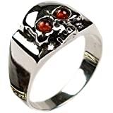 Baltic Honey Amber Sterling Silver Skull Men's Ring