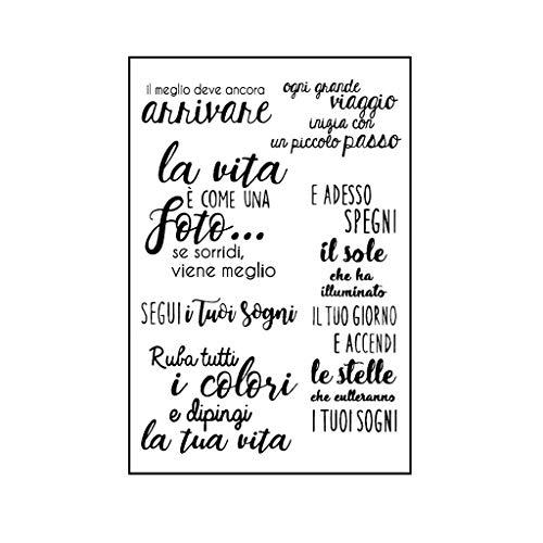 Fafalloagrron - Timbro in silicone trasparente con lettere italiane per decorazioni fai da te