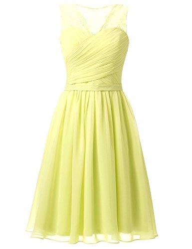 Sarahbridal Damen A-Linie Kleid Gelb