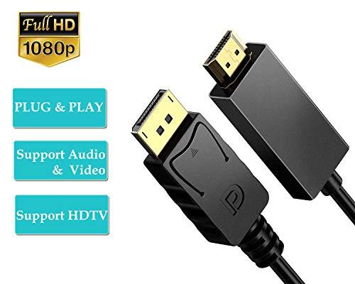 TB, cavo da DisplayPort a HDMI, 1,8 m, cavo DP a HDMI, adattatore HDTV 1080p, convertitore maschio a maschio, cavo placcato in oro, compatibile con Lenovo, Dell, HP, ASUS e altri