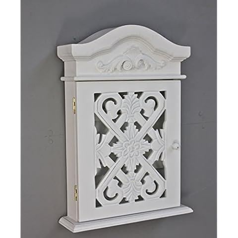 Casella chiave con ornamenti e sculture con anta in legno bianco antico in stile country