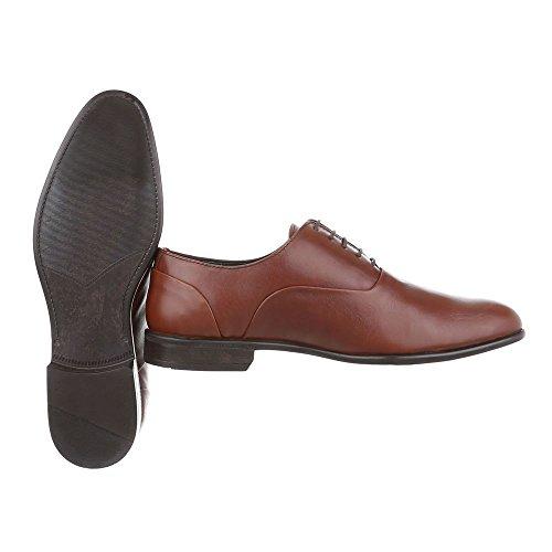 Budapester Stil Leder Herrenschuhe Low-Top Blockabsatz Schnürer Schnürsenkel Ital-Design Business-Schuhe Braun