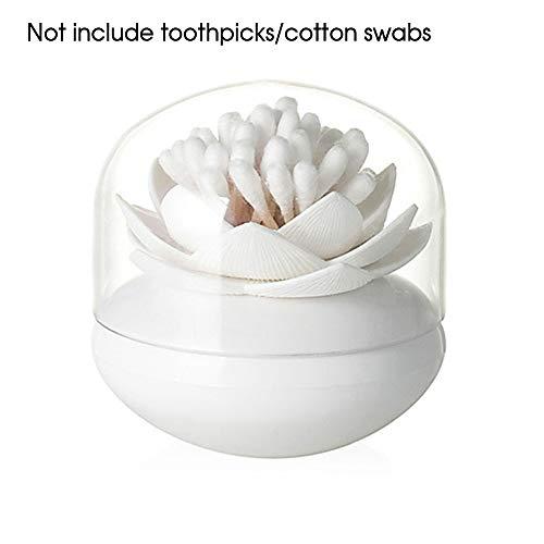 GerTong 1 Stück Wattestäbchen-Halter Spender Lotus Form Q-Tips Wattestäbchen Organizer Zahnstocher Etui Kosmetik Tips Box Container für Badezimmer Tischdekoration, Polypropylen, weiß, 8.5 * 9cm