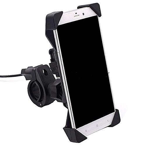 Toppower 360º Ajustable Soporte Universal Motocicleta Teléfono Móvil GPS Soporte USB Carga para ATV Scooter Giratorio Motocicleta Espejo Retrovisor Soporte para iPhone 6S/6/5S/4S/iPod/GPS/MP4/Samsung