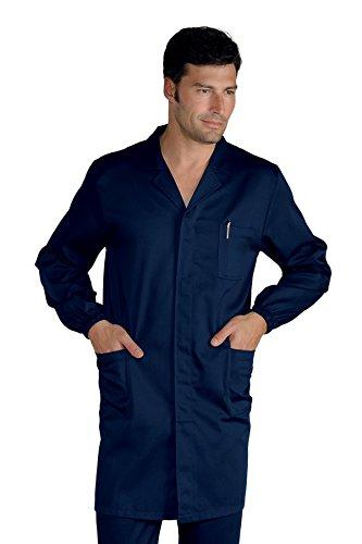 Isacco Camice Uomo - Isacco Blu, Blu, M, 65% Poliestere 35% Cotone, Manica Lunga, Bottoni a pressione - Tessuto 195 gr/m²