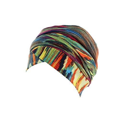 URSING Turban Damen Kappe Muslima Kopftuch für Haarausfall Krebs Chemo Haarausfall Make up Gestreifte Kopfbedeckung Kopftuch Set Sommer Elegant Bandana Retro Kopftücher Sommerhut (C)