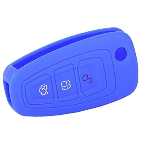 beler Meeres Blau Silikon Schutzhülle Tasche Gehäuse 3 Tasten Fernbedingung Klappschlüssel für Ford Focus MK3 Mondeo Fiesta