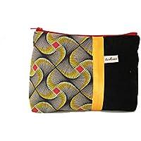 pochette zippée noir a motifs wax rouge et jaune, fourre tout toile et tissu imprimé ethnique, trousse maquillage en tissu africain