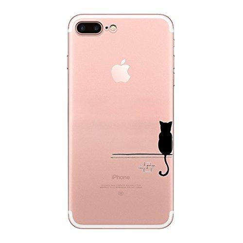 iPhone 7 Hülle, Schutzhülle Case Silikon- Clear Ultra Dünn Durchsichtige Backcover TPU Case für iPhone 7 Draht Katze