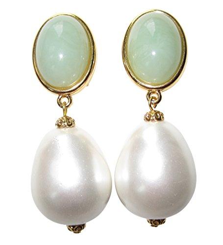Auffällig: Sehr große leichte Clip-Ohrstecker Ohrringe vergoldet Stein jade-grün Anhänger Perle weiß Tropfen Statement Glamour Designer ()