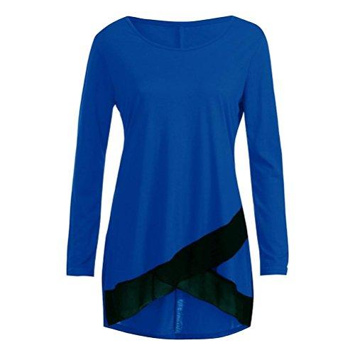 Huihong Damen Elegante Oberteile Locker Casual Langarm O Hals Spitze Patchwork Bluse Tops Shirts (Dunkelblau, EU:42/XXL)