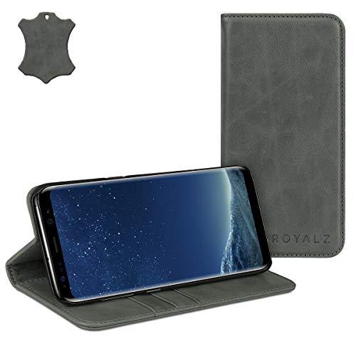 ROYALZ Schutzhülle für Samsung Galaxy S8 Ledertasche (5.8 Zoll) Lederhülle Tasche Book Case Cover Schutztasche Handyhülle Hülle Vintage Leder, Farbe:Grau