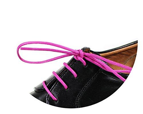 Loco!Laces- Gewachste, Bunte, farbige, runde Schnürsenkel für Business-Schuhe! 80cm Länge 3er Pack (3X Pink)
