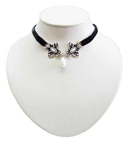 Schwarzes Samt Kropfband mit antikem Ornament und Perle – Schöne Kette zu Dirndl, Trachten, Gothik...