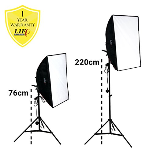 Top Continuous LED Lighting Photography Kit_14 for Video Studio 1500W 5400K | 2x 70x50CM/20″x28″ Softboxes | 10x 18w LED 5400K Light Bulbs | 2x 1.9m Stands | 1x Carry Bag with Straps | By Life of Photo on Amazon