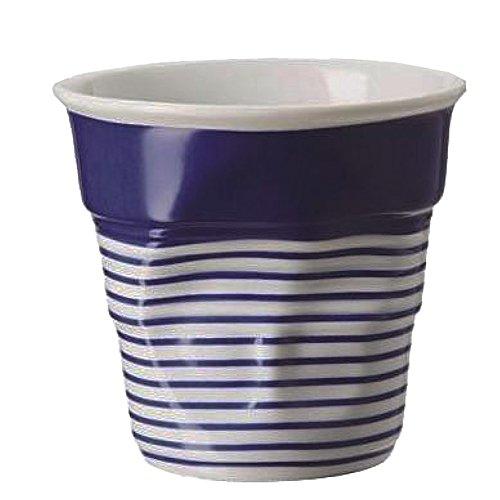 Revol RV646077 Tasse Cappuccino Froissé 8, 5cm Porcelaine, Blanc/Bleu,, 8.5 x 8.5 cm