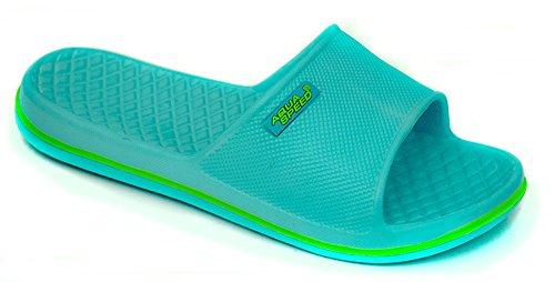 AQUA-SPEED® CORDOBA Chancletas de ducha para hombres/mujeres/niños (Zapatillas Con Piscina + UP®-Etiqueta engomada), Colour:Farbe 02 / Hellblau - Grün;Size:33