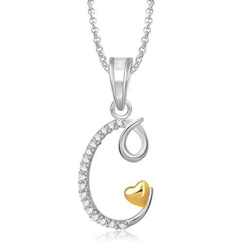 Meenaz Silver Plated 'C' Letter Heart Pendant Locket Wih Chain For man And Women PS335  available at amazon for Rs.179