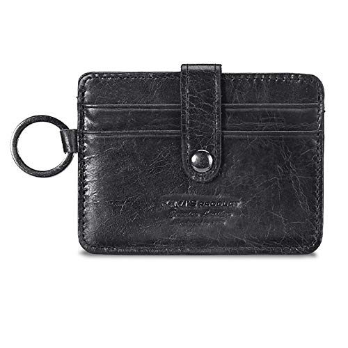 Epinki Geldbörse aus Leder für Herren Retro Kurz Geldbeutel Geldtasche Portmonaise Brieftasche Schwarz