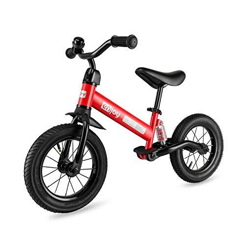 besrey Bicicleta sin Pedales 12 Pulgadas 3.4.5 años con Amortiguador Central y Rueda de Goma Inflable, Bicicleta sin Pedales con Altura de sillín Ajustable y Manillar (Rojo