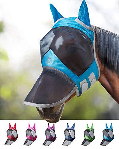 Harrison Howard CareMaster Pro Luminous Fliegenmaske UV-Schutz Ohren und Nasenschutz Dresden Blau Vollblut (M)