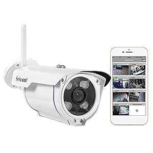 Sricam SP007 Telecamera di Videosorveglianza Wireless, Controllo Remoto Tramite App, 720p, IP66, 12 V, Bianco, 1, Set di 3 Pezzi