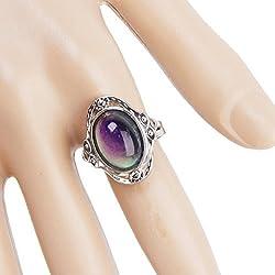 PIXNOR cíngara Boho ovalado cambiándose humor anillo de dedo