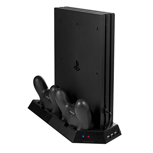 Younik VG-09 PS4 Pro Vertical Stand Cooling Fan with Dualshock Controller Charging Station 3 Port USB Hub for PlayStation 4 Pro