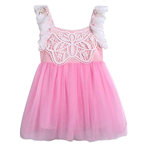 Puseky Kinder Baby Mädchen Ärmelloses Kleid Fluffy Bubble Dress (Color : Pink+White, Size : 3Y-4Y)