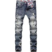 ITISME Jeanshosen Beiläufiger Herbst-Denim-Baumwolle der Männer gerade gerissenes Loch-Hosen-Jeans-Hosen