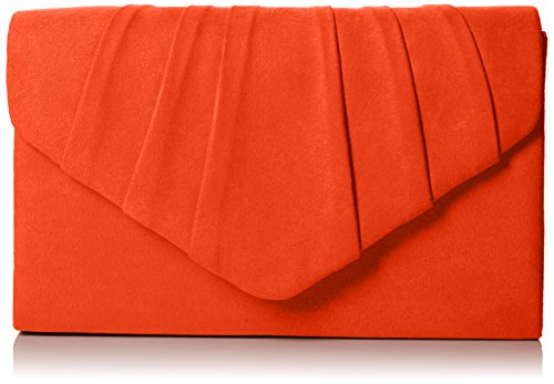 Swankyswans Damen Iggy Suede Velvet Envelope Party Prom Clutch Bag Tasche, Orange (Scarlet 03), One Size -
