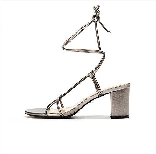 Lgk & fa estate sandali da donna sono Air spessa con cinturino punta sandali, 39 tin color 38 tin color